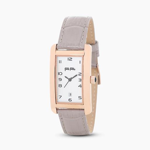 Think Tank ατσάλινο ρολόι με ροζ επιχρύσωση και δερμάτινο λουράκι-
