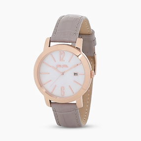 Drive Me stainless steel rose gold plated watch with leather strap-