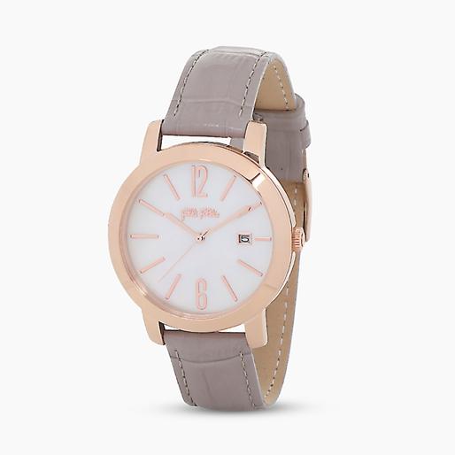 Drive Me ατσάλινο ρολόι με ροζ επιχρύσωση και δερμάτινο λουράκι-