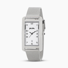Think Tank stainless steel watch with mesh bracelet-