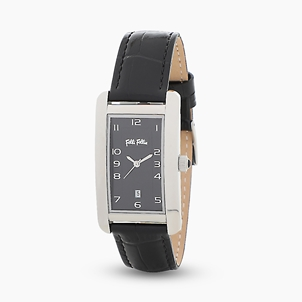 Think Tank stainless steel watch with leather strap-