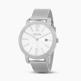 Drive Me stainless steel watch with mesh bracelet-