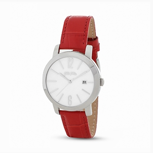 Drive Me stainless steel watch with leather strap-