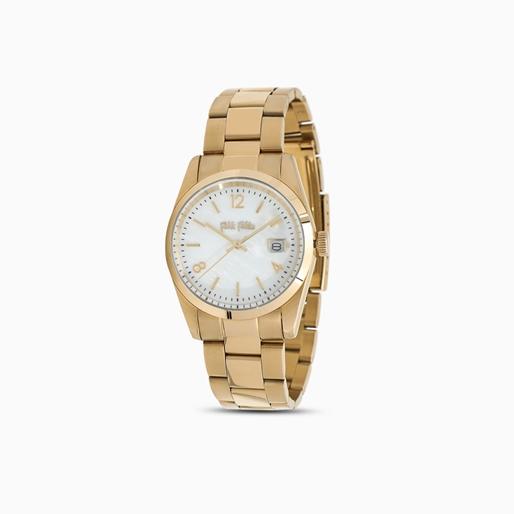All Time μικρή κάσα ατσάλινο ρολόι με μπρασελέ σε κίτρινη επιχρύσωση-