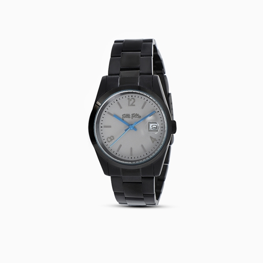 All Time μικρή κάσα ατσάλινο ρολόι με μπρασελέ σε μαύρη επιχρύσωση-